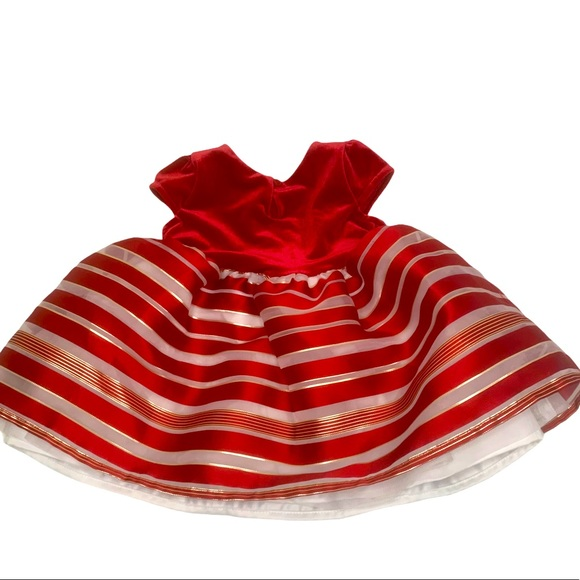 Children's Place Satin Red Gold Christmas Dress 9M